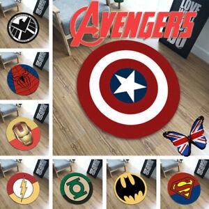 Avengers Superhero Kids Carpet Floor Mats Round Area Rugs Bedroom Room Doormat