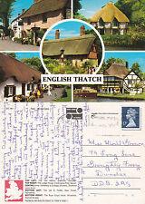 1990's MULTI VIEWS OF ENGLISH THATCHES COLOUR POSTCARD