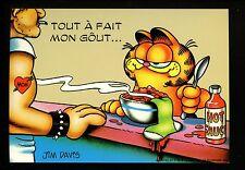 Comics postcard Garfield Cat Jim Davis Cook lunch counter sock bowl of food