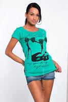 Sexy De Mujer Top TACONES estampado Camiseta de manga corta de cuello redondo