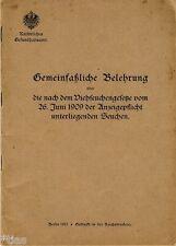 Belehrung über die nach Viehseuchengesetz von 1909 der Anzeigepflicht Seuchen
