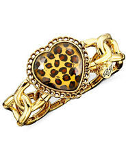 BETSEY JOHNSON Leopard Heart Gold-Tone Stretch Bangle Bracelet