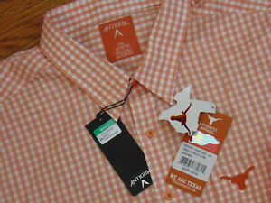 Texas Longhorns New Official Licensed Checkered Button Front Shirt Size 2XL