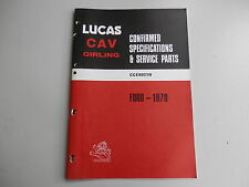 LUCAS Parts List for FORD cars and commercials 1970
