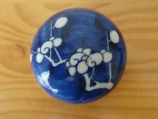 c.17th - Antique Chinese Kangxi Prunus Blue & White Porcelain Ginger Jar Lid Cap