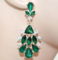 ORECCHINI donna argento platino pendenti cristalli strass verdi eleganti CC165