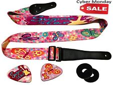 Pink Guitar Strap For Kids & Girls CHRISTMAS BONUS Bundle Includes 2 Strap