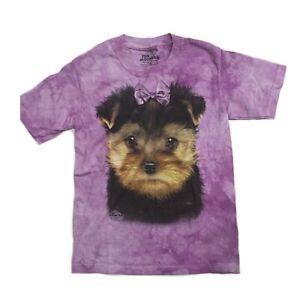 THE MOUNTAIN Girl's Puppy Face Graphic Tee, Medium, Purple