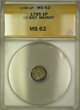 1795 Great Britain Maundy Silver Penny 1P Coin ANACS MS-62
