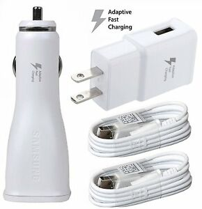 Adaptive Fast Charger Micro USB 2.0 [Car & Home Charger + 2 USB Cable] White