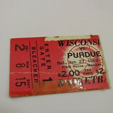 Wisconsin Badgers vs Purdue Vtg Ticket Stub 1962 Basketball Game Field House