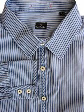 PAUL SMITH Shirt Mens 16.5 L Blue - Black & White Stripes