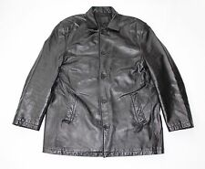 Vintage Black Leather BATISTINI Loose Fit Hips Length Men's Jacket Size XL