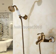 Antique Brass Wall Mount Bathroom Shower Faucet Tub Tap Handheld Shower Set