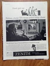 1958 Zenith TV Television Ad  Easy Chair Zenith Space Command Tunner