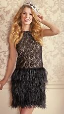 Rare! ZARA Black Lace Feather Dress Size Medium M Prom Cocktail Flapper