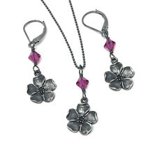 Cherry Blossom Antique Sterling Silver + Pink Crystal Necklace, Earrings or Set