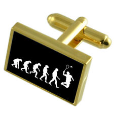 Evolution Ape To Man Badminton Sport Gold-Tone Cufflinks Engraved Message Box