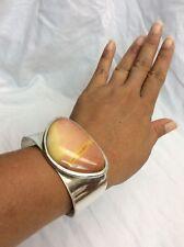 Beautiful Jay King Mine Find Modernist sterling 925 Brown Stone  Cuff bracelet