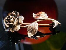 925 Silber Brosche Jugendstil Art Deco Tracht Rose Blätter Verziert lieblich Tip