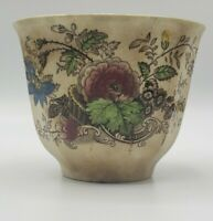 1800s Floral Basket Challinor handleless Black Transferware Cup Staffordshire