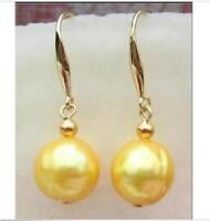 Beautiful 11-12mm South Sea natural golden Pearl Earring 14K yellow Gold hook
