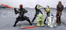 6 Star Wars Cake Toppers Luke Leia Darth Maul Yoda R2D2 Chewbacca Applause '97