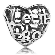 S925 sterling silver Let it Go Openword Hollow Heart European Charm For Bracelet