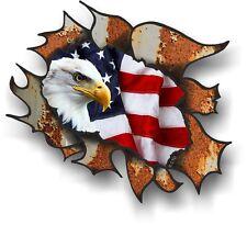 classico ruggine RUSTY metallo LACERATO American Eagle & USA FLAG ADESIVO AUTO