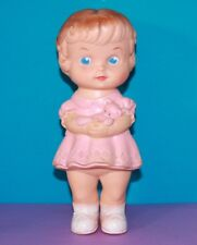 """1950s Vintage EDWARD MOBLEY 8"""" Baby GIRL BLUE EYES Pink Doll w Teddy Bear SQUEAK"""