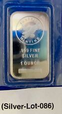 New Listing One (1) Oz .999 Silver Bar Sunshine Minting Sealed.Lot # 086