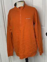 Columbia Men's LARGE 1/4 Zip Orange Fleece Pullover Jacket Sweater Long Sleeve