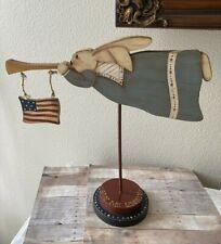 Folk Art Primitive Style July 4 Patriotic Flag Rabbit Hand Painted Wood Décor #2