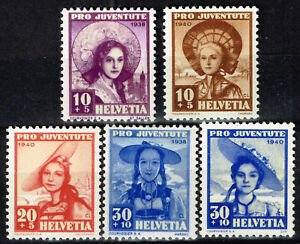 Switzerland Culture Ethnicities Cantonial Girls stamps 1939-40 MLH
