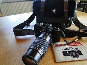 Asahi Pentax ME mit SMC Pentax-M Zoom 1:45 80-200 mm Objektiv+ Tasche + G.
