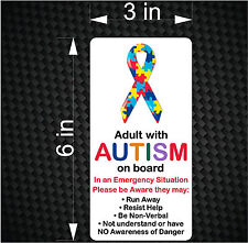 ADULT with AUTISM on Board - Emergency Awareness Car Vinyl Bumper Sticker Decal