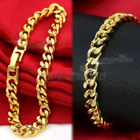9K GOLD FILLED STARDUST DIAMOND CUT SOLID LADIES CURB CHAIN BANGLE BRACELET GIFT