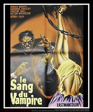 """BLOOD OF THE VAMPIRE 24"""" x 32"""" French Moyenne Fold Movie Poster Original 1958"""