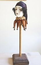 "Ceramic Porcelain Doll Head Jester Figure stand ""Incredible Goodheads"" English"