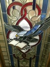 Eagle stained glass window — heavy leaded, framed in wood