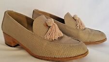 Stuart Weitzman Textured Crosshatch Block Heel Tassel Loafer Shoes Beige 7B