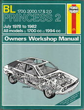 BL Princess 2 1700 2000 1.7 2.0 July 1978-1982 Haynes Owners Workshop Manual