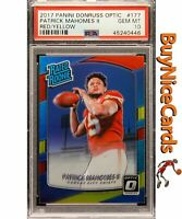 2017 Patrick Mahomes Donruss Optic Red Yellow Holo Prizms Refractor RC PSA 10