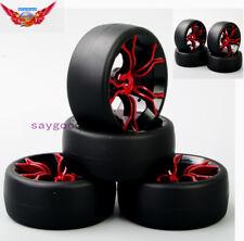 1:10 4PCS Drift Tires Wheel&Rim 12mm Hex PP0477&MPNKR For HSP HPI RC On Road Car