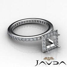 Princess Diamond Engagement Semi Mount 14k White Gold Halo Pave Set Ring 0.55Ct