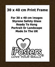 TELAIO-effetto venature di legno di noce Cornice per 30 x 40 cm STAMPE-UK Made