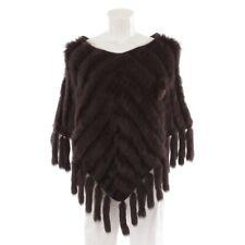 K-YEN Poncho Gr. M Braun Damen Oberteil Strick Knit Fell Fur Cape Strickjacke