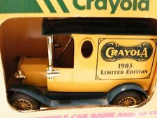 1993 1:25 Crayola 1903 Antique Car Hard Plastic Coin Bank with Crayons