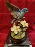 "Beautiful Hand Painted 7"" Mountain Blue Bird Angeline Original Made in Japan"
