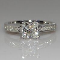 1CT White Sapphire Birthstone 925 Silver Wedding Bridal Ring Gift Size 4-10
